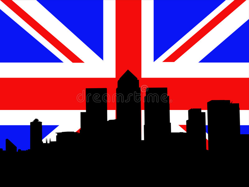 London Docklands And Flag Royalty Free Stock Images