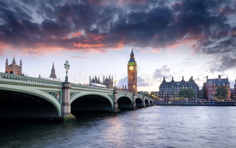 London at Dusk. Dusk at Westminster Bridge and Big Ben in London