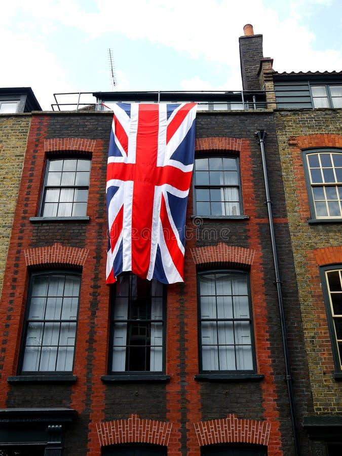 London: East End Georgian terrace house with flag stock photo