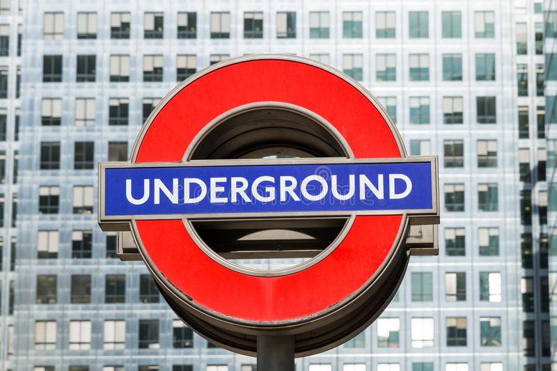 London, England - April 3, 2017: Close up of a traditional station sign for the London Underground transportation systems in stock photography
