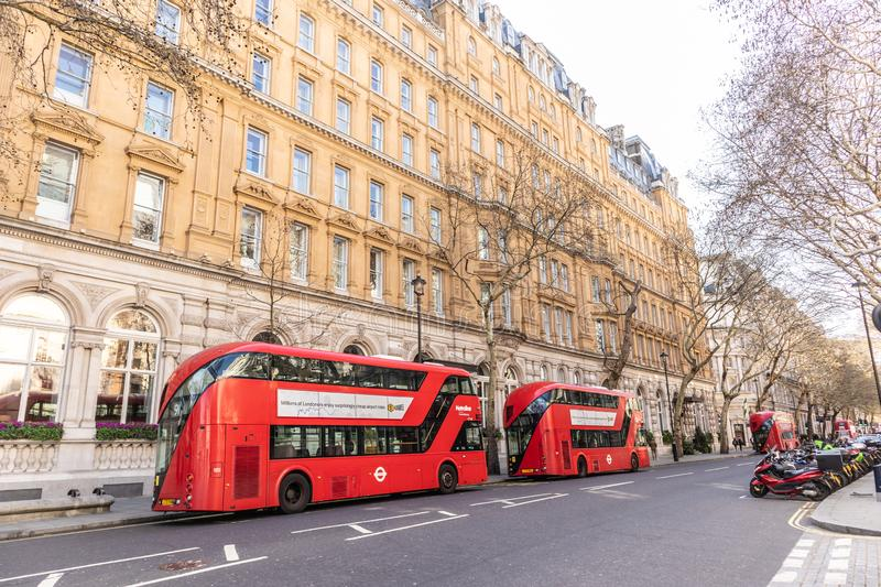 London, England - APRIL 1, 2019: Red Double Decker Bus in London. UK stock images