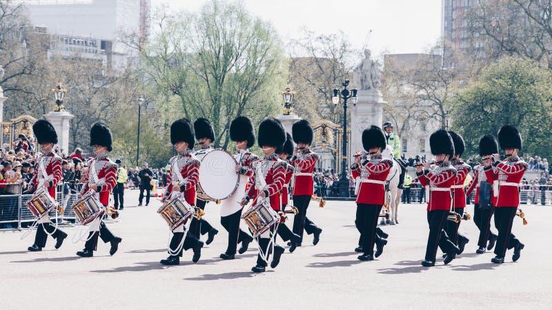 London, England - April 4, 2017: Royal Guards parade during trad royalty free stock images
