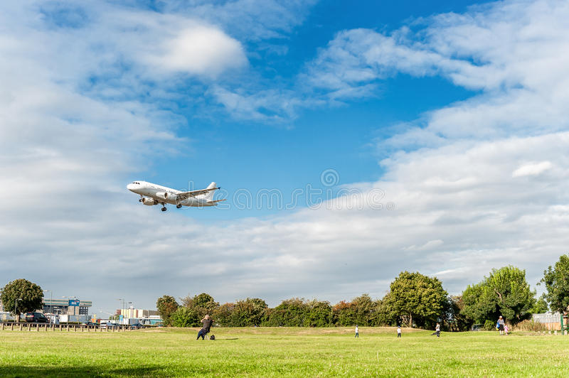 LONDON, ENGLAND - AUGUST 22, 2016: G-NOAH Acropolis Aviation Airbus A319 Landing in Heathrow Airport, London. Airplane is Landing in London, Heathrow Airport stock images