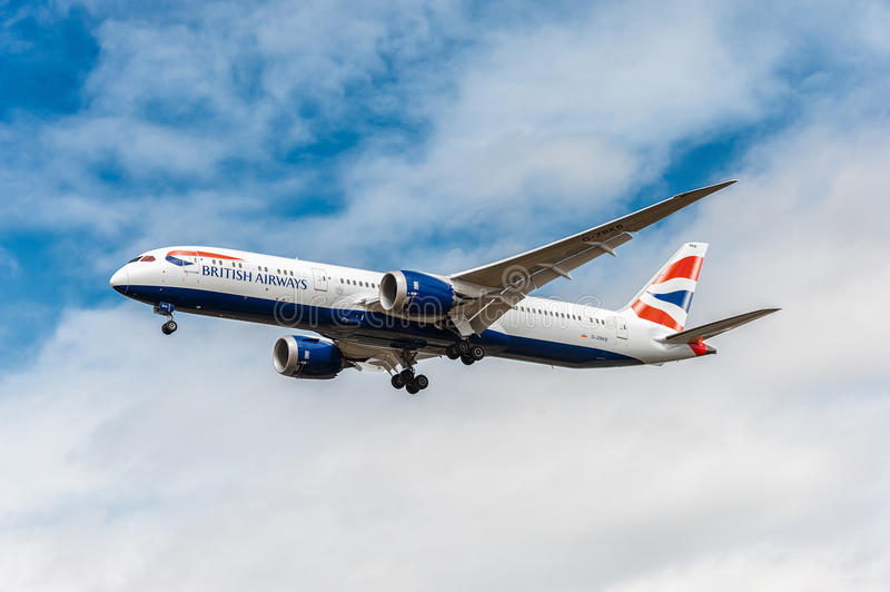 LONDON, ENGLAND - AUGUST 22, 2016: G-ZBKB British Airways Boeing 787-9 Dreamliner Landing in Heathrow Airport, London. G-ZBKB British Airways Boeing 787-9 stock photo