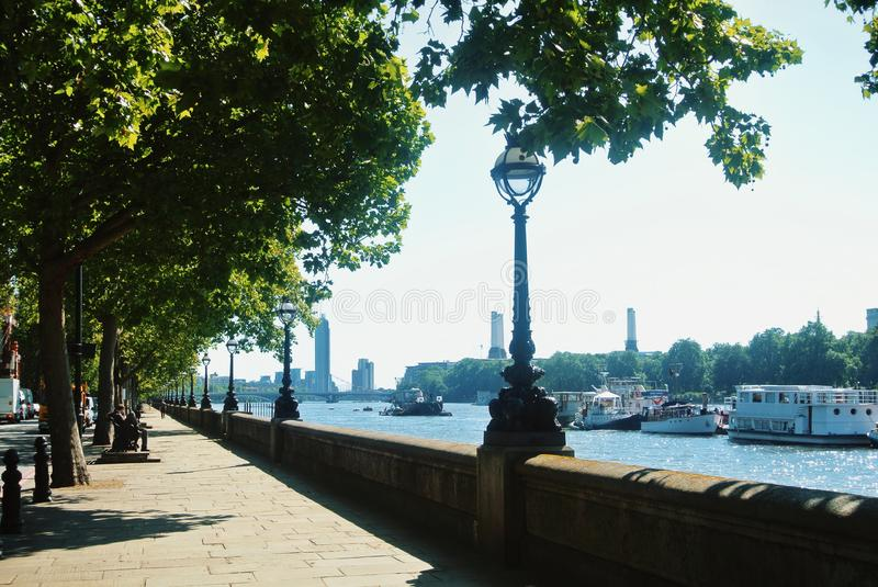 LONDON, ENGLAND - AUGUST 01, 2013: Riverside promenade of South royalty free stock image