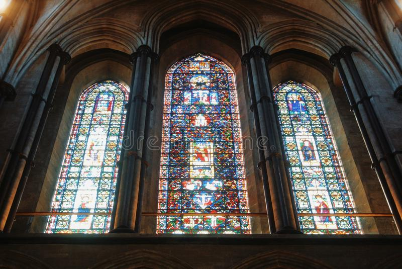 LONDON, ENGLAND - AUGUST 02, 2013: Stained-glass window at Cathedral of Salisbury. stock image