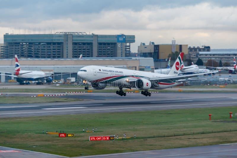 London, England - Circa 2019 : Bangladesh AIrlines Boeing 777 Aircraft S2-AFP Landing at London Heathrow Airport. London, England - Circa 2019 : Bangladesh stock photo