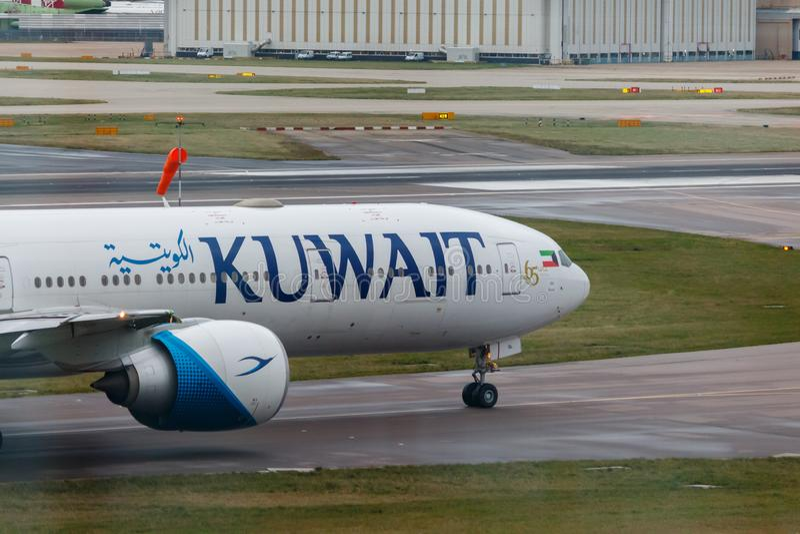 London, England - Circa 2019 : Kuwait Airways Aircraft at London Heathrow Airport royalty free stock photos