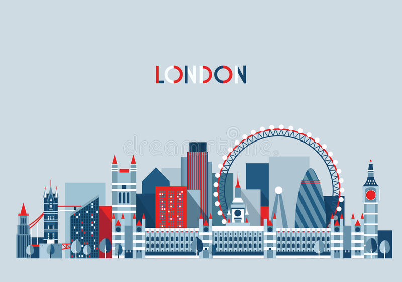 London, England City Skyline Vector. Flat Trendy. vector illustration
