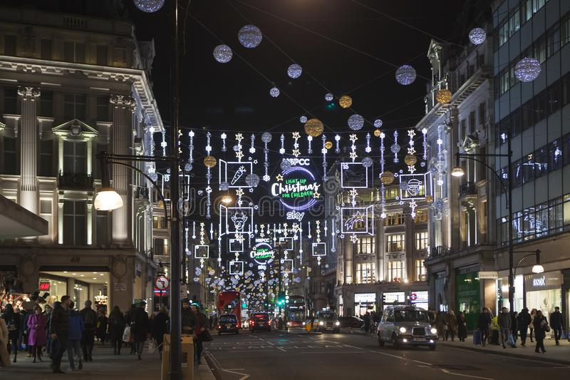 Christmas Lights at Regent Street stock photo
