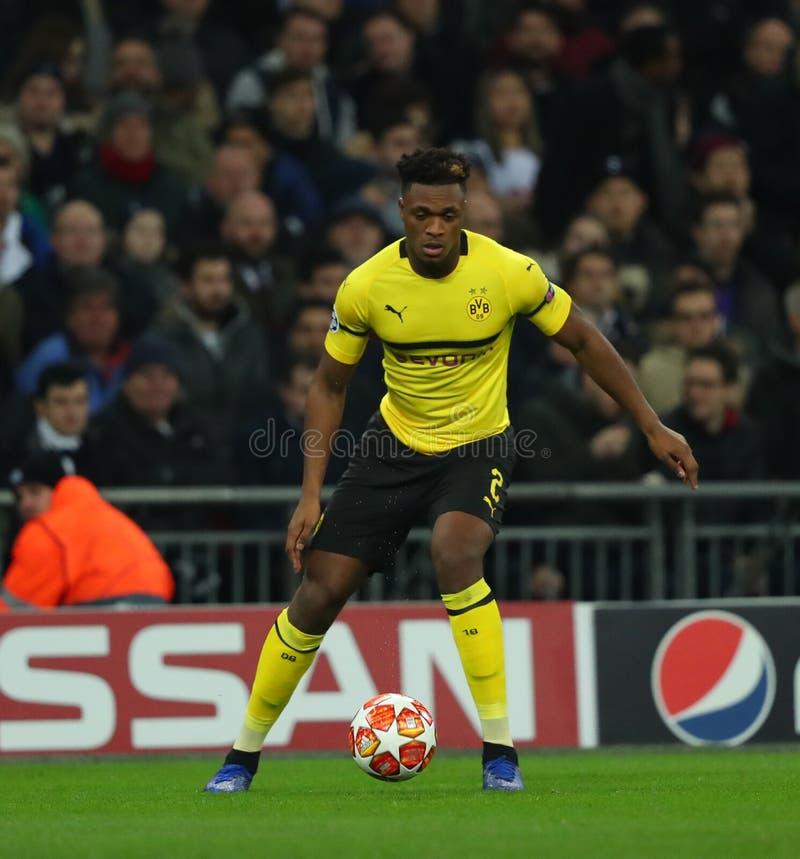 Tottenham Hotspur v Borussia Dortmund - UEFA Champions League Round of 16: First Leg. LONDON, ENGLAND - FEBRUARY 13 2019: Dan-Axel Zagadou of Dortmund during the stock photography
