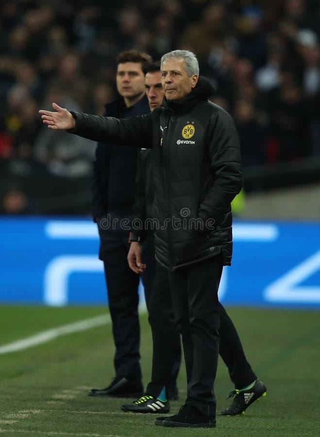 Tottenham Hotspur v Borussia Dortmund - UEFA Champions League Round of 16: First Leg. LONDON, ENGLAND - FEBRUARY 13 2019: Lucien Favre Manager of Dortmund during royalty free stock photography
