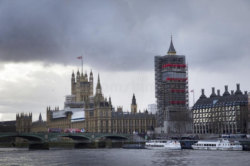 View of Big Ben and the Houses of Parliament under rennovation, London, England, February 12 royalty free stock photo