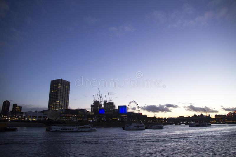 View of London Eye Millennium Wheel on the Southbank of River Thames, London, England, royalty free stock photo