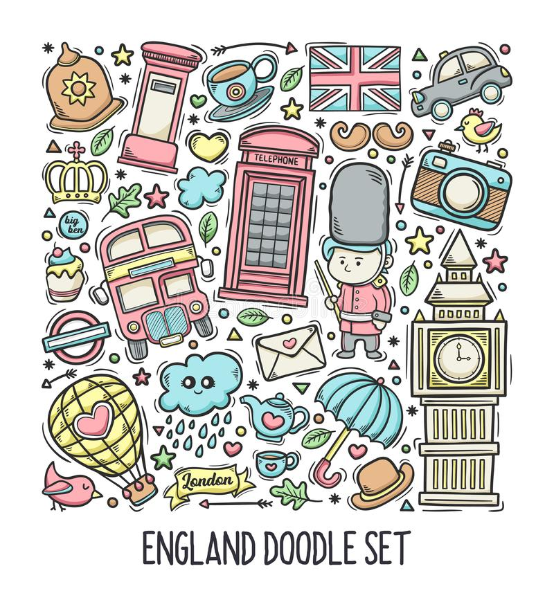London England Hand Drawn Doodle Colorful Vector royalty free stock images