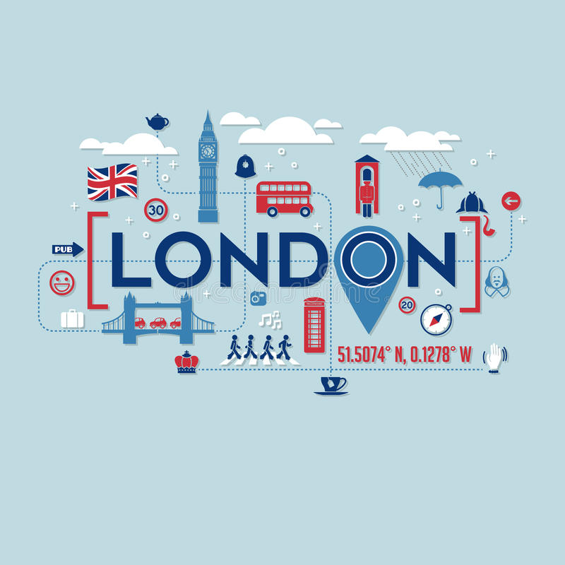 London England icons and typography design vector illustration