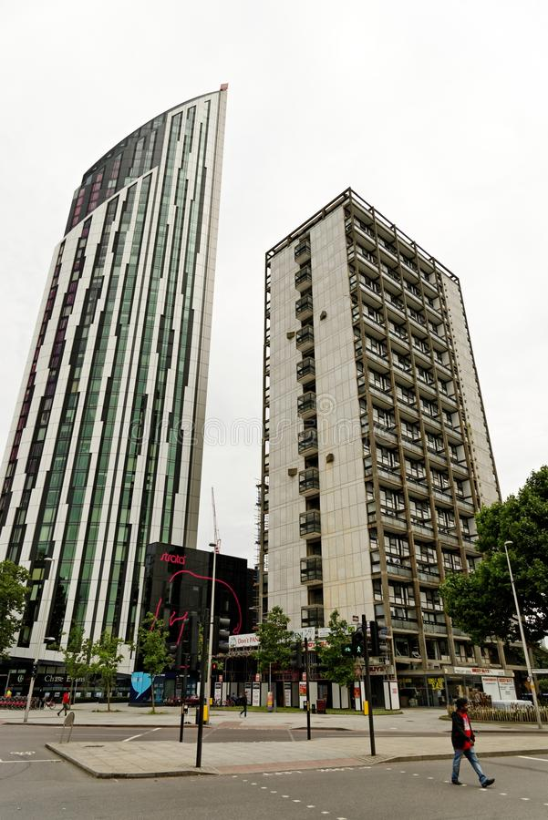 The Strata, nicknamed `Razor`, a 148-metre, 43-storey building at Elephant and Castle. LONDON, ENGLAND - JULY 8, 2016: The Strata, nicknamed `Razor`, a 148-metre stock images