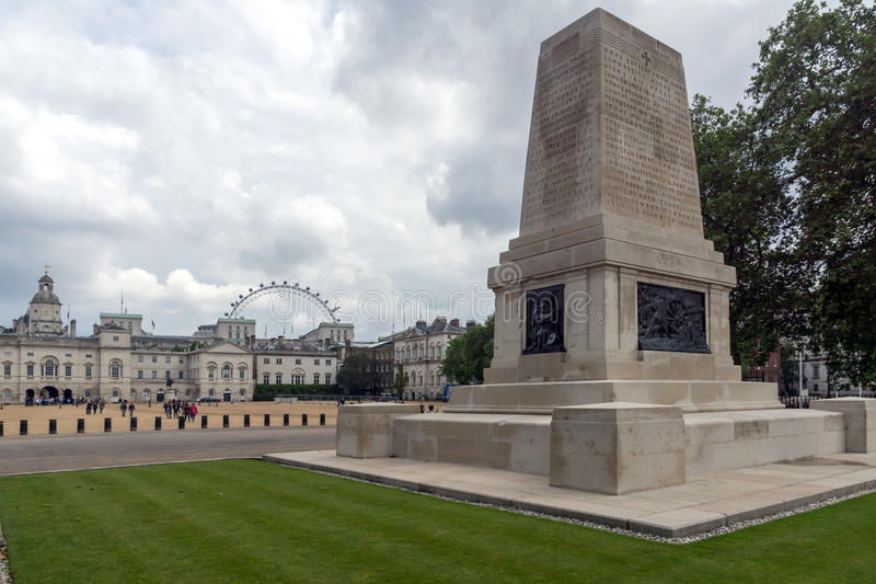 LONDON, ENGLAND - JUNE 17 2016: Guards Division Memorial in St James`s Park, London, Great Britain royalty free stock image