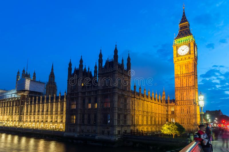 Night photo of Houses of Parliament with Big Ben from Westminster bridge, London, England, Great B. LONDON, ENGLAND - JUNE 16 2016: Night photo of Houses of royalty free stock image