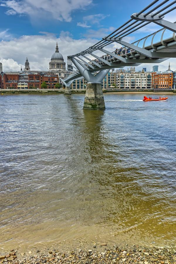 St. Paul`s Cathedral and Millennium bridge, London, England, Great Britain stock photos