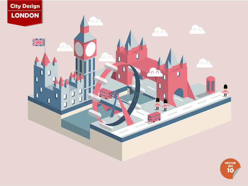 London England London city design. In perspectivecute design of london city consist of bigben Elizabeth Towerlondon eyeriver thames palace of westminster tower royalty free illustration