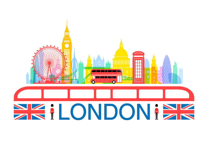 London England loppgränsmärken vektor illustrationer