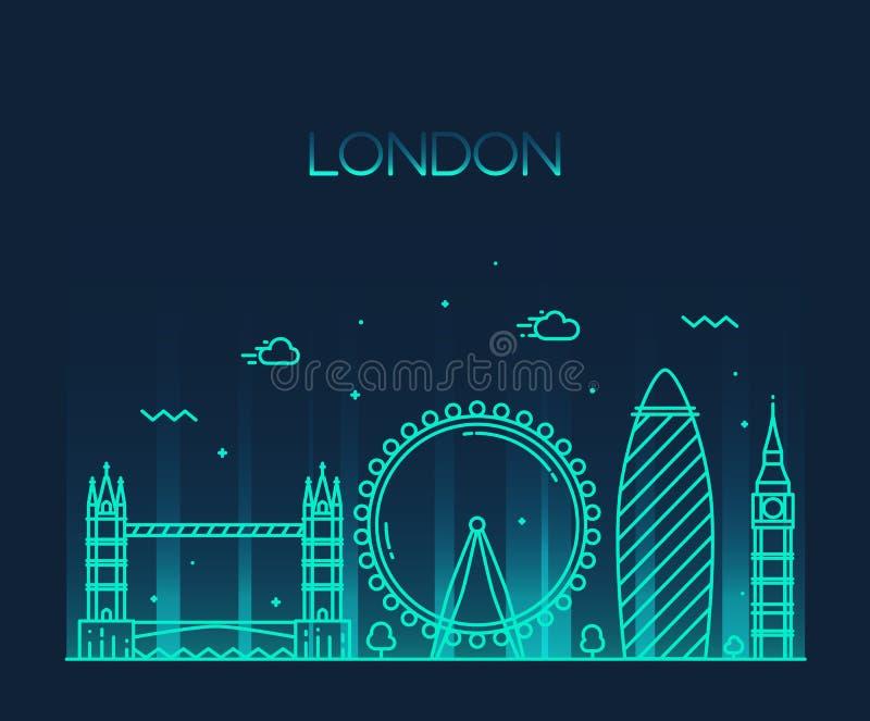 London England moderiktig illustrationlinje konststil royaltyfri illustrationer