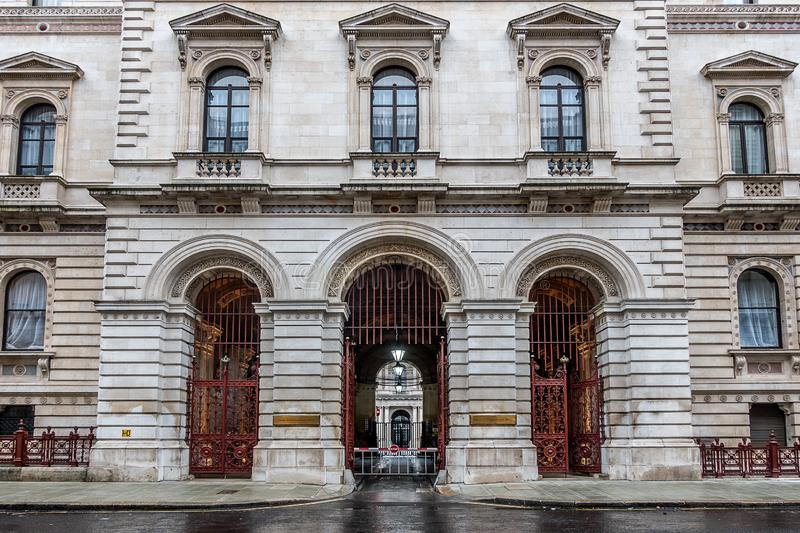 Foreign and Commonwealth Office in London. London,England on 2nd Dec 2018:Foreign and Commonwealth Office in Whitehall is responsible for protecting and royalty free stock image