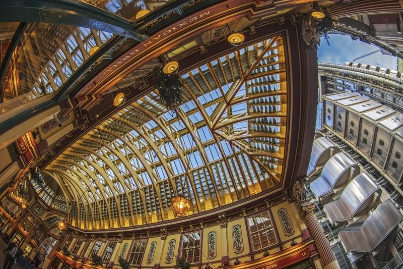 Leadenhall market and Lloyd`s Building, London stock images