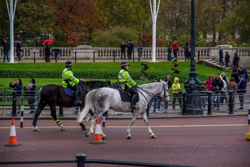 LONDON ENGLAND - 9 NOVEMBER 2018: Två polisridninghästar Buckingham Palace ceremoni arkivbild