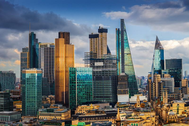London, England - Panoramic skyline view of Bank and Canary Wharf, central London`s leading financial districts. With famous skyscrapers and other landmarks at stock images