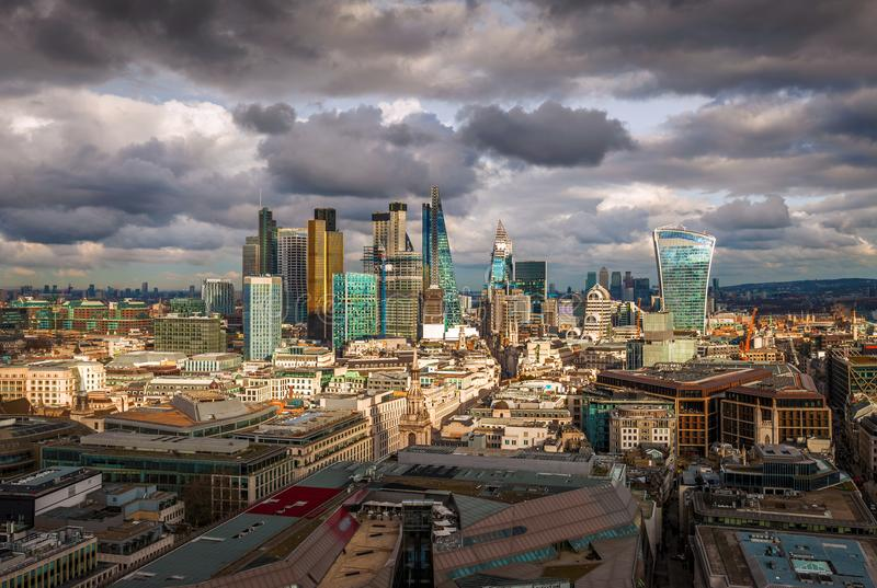 London, England - Panoramic skyline view of Bank and Canary Wharf, central London`s leading financial districts. With famous skyscrapers and other landmarks at stock photos