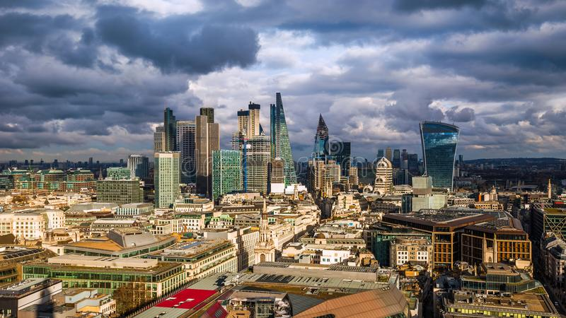 London, England - Panoramic skyline view of Bank and Canary WharLondon, England - Panoramic skyline view of Bank and Canary Wharf,. London, England - Panoramic royalty free stock images