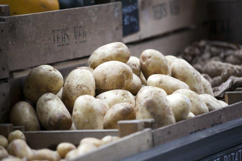 Fresh potato in the box for sale at Borough market stock image