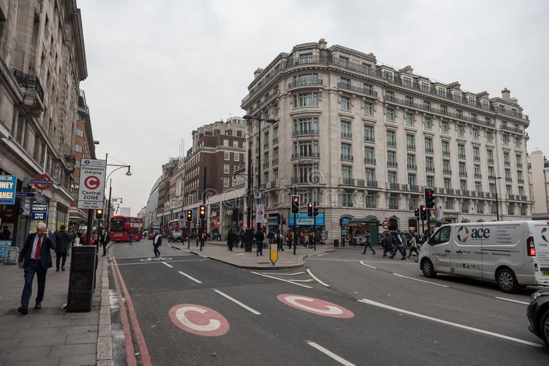 LONDON, ENGLAND - SEPTEMBER 25, 2017: London Cityscape and downtown Oxford Street with people and traffic. royalty free stock photo