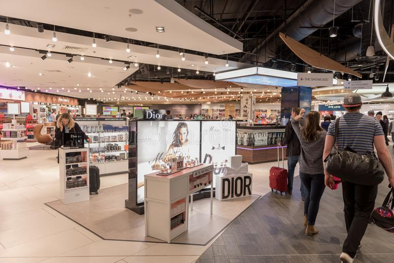 LONDON, ENGLAND - SEPTEMBER 29, 2017: Luton Airport Check Departure area with Duty Free Shop. London, England, United Kingdom. Luton Airport Check Departure royalty free stock photos