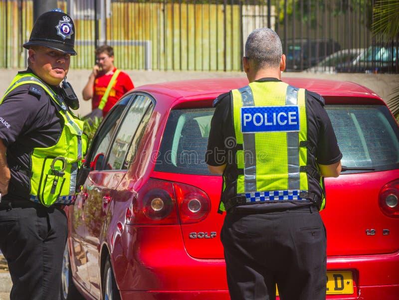 London England September 3, 2014: Polisen i det typiska engelskaet arkivbild