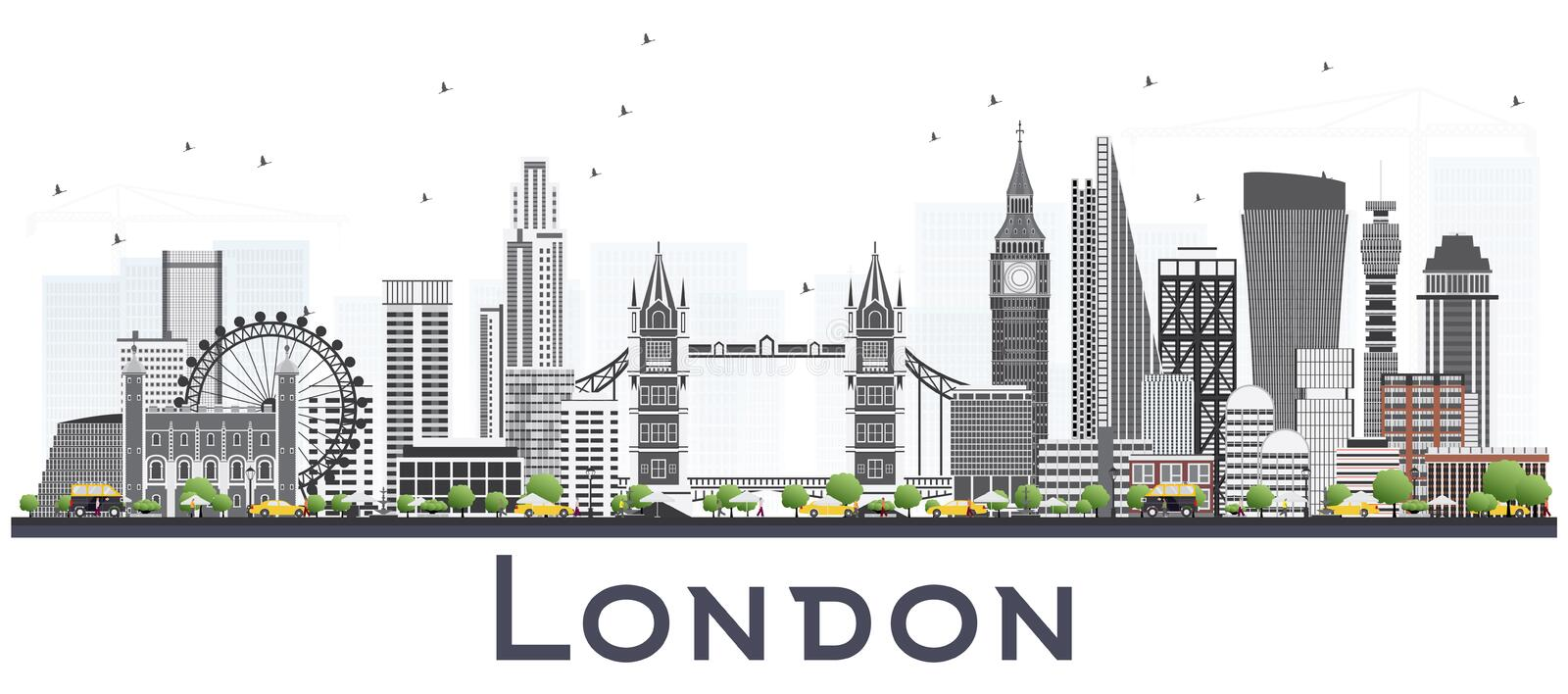 London England Skyline with Gray Buildings Isolated on White Background. Vector Illustration. London Cityscape with Landmarks stock illustration