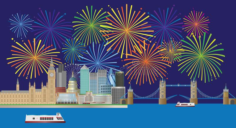 London Skyline Fireworks Panorama vector Illustration. London England Skyline Panorama with Tower Bridge and Westminster Palace and Fireworks display color stock illustration