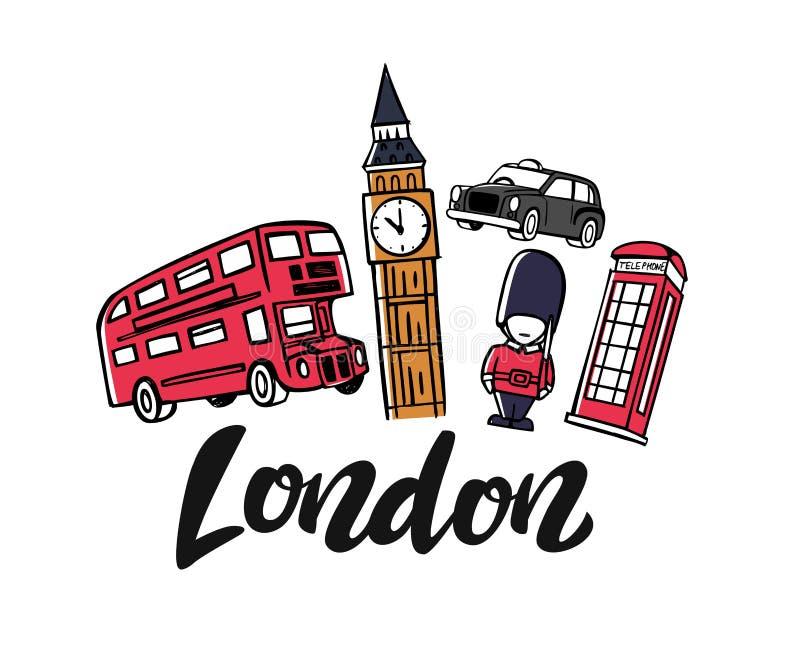 London England toruismlopp vektor illustrationer