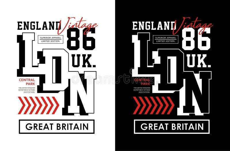 London England typografidesign, för t-skjorta och dräkt, tryckmän, vektorer vektor illustrationer