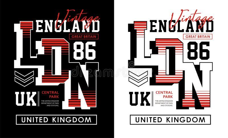 London England 86 typografitappning, för t-skjorta och dräkt, tryckmän, vektorer stock illustrationer