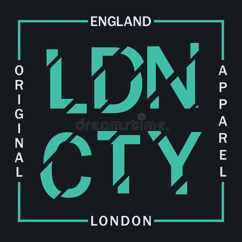 London, England typography graphics for t-shirt. Design graphics for original apparel. Clothes print. Vector. royalty free illustration