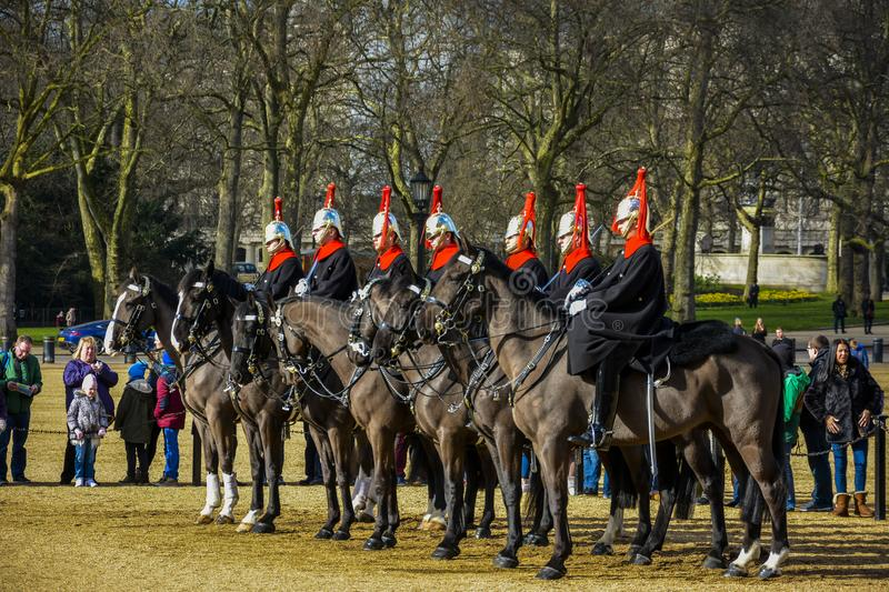 LONDON, England UK - February 15, 2016 : Her Majesty The Queen`s Life Guard Soldiers from the Household Cavalry royalty free stock photo
