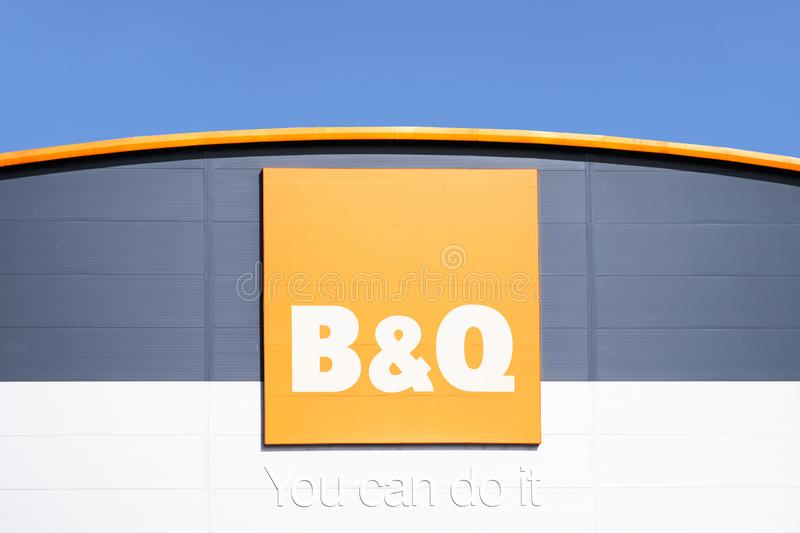 London, England / UK - July 20th 2019: B & Q home improvement shop opens at retail park stock images