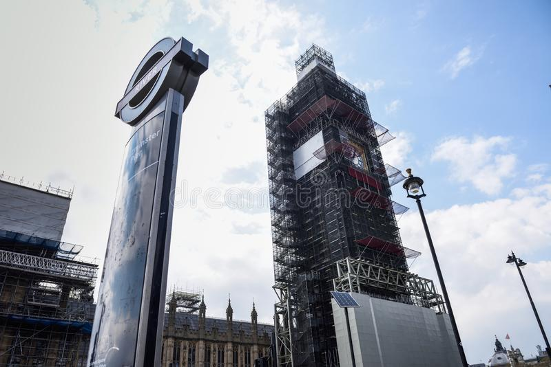 LONDON, ENGLAND, UK. 13TH APRIL, 2019 Scaffolding around Big Ben during restoration of the Houses of Parliament. stock images