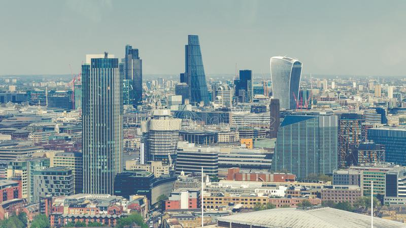 A view of London skyline from central London with famous skyscrapers and other landmarks on a bright sunny day. London, England - A view of London skyline from royalty free stock images