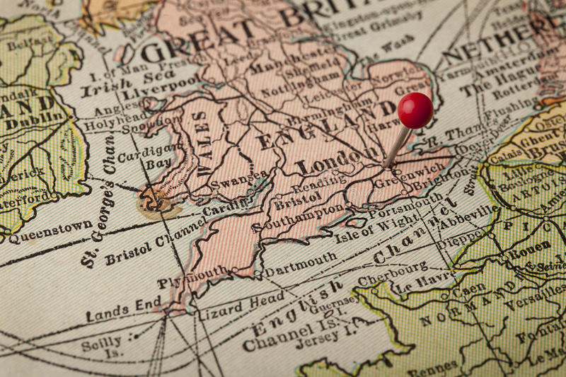 Download London And England Vintage Map Stock Photo - Image: 16296960