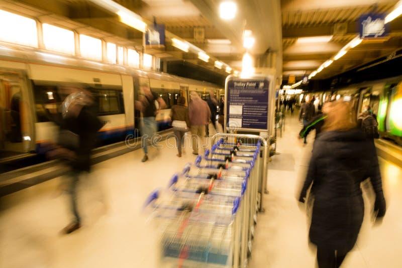 London Euston train station. A London Midland train pulls in to the station at London Euston stock photography