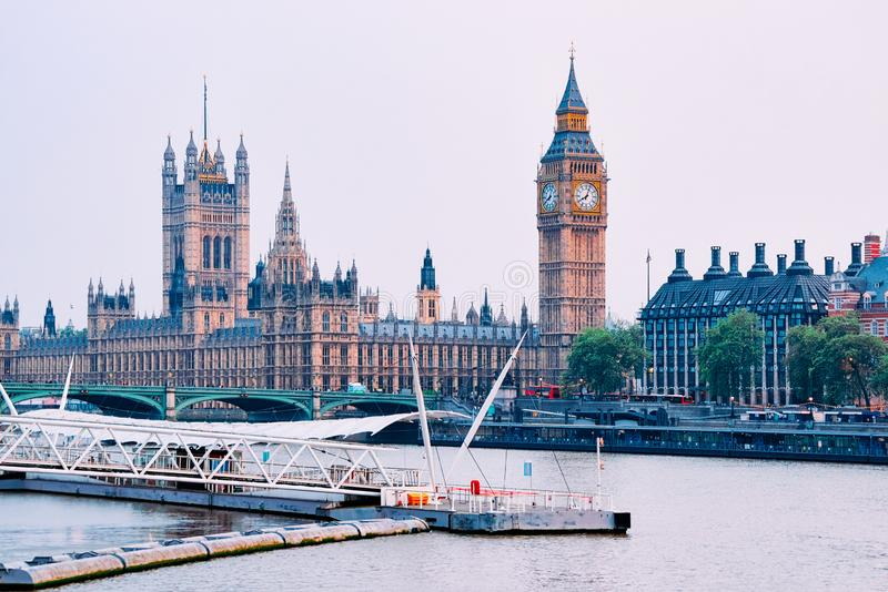 London Eye and Big Ben in Westminster Palace in London. London Eye Clock and Big Ben in Westminster Palace in London old town in United Kingdom. Thames River in royalty free stock image